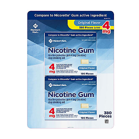 Member's Mark 4 mg Nicotine Polacrilex Gum, Uncoated Original Flavor (380 ct.)