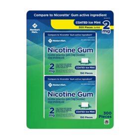 Member's Mark 2 mg Nicotine Polacrilex Gum, Coated Mint Flavor (300 ct.)
