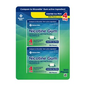 Member's Mark Nicotine Coated Gum 4mg, Ice Mint Flavor (300 ct.)