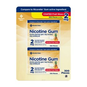 Member's Mark Nicotine Coated Gum 2mg, Fruit Flavor (300 ct.)