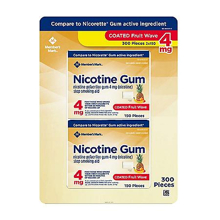 Member's Mark 4 mg Nicotine Polacrilex Gum, Coated Fruit Flavor (300 ct.)