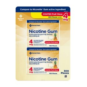 Member's Mark Nicotine Coated Gum 4mg, Fruit Flavor (300 ct.)
