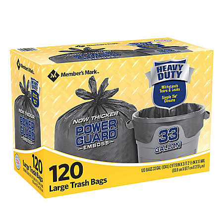 Member's Mark Power Guard Large Trash Simple Tie Trash Bags (33 gal., 120 ct.)