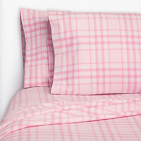 MM FLANNEL SHEET TWIN PINK PLAID
