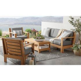 Member's Mark Newport 4-Piece Teak Deep Seating Patio Set with Sunbrella Fabric