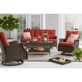 Member's Mark Agio Stockton 4-Piece Patio Deep Seating Set with Sunbrella Fabric, Cherry
