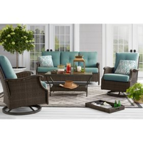 Member's Mark Agio Stockton 4-Piece Patio Deep Seating Set with Sunbrella Fabric, Lagoon