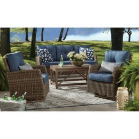 Member's Mark Agio Fremont 4-Piece Patio Deep Seating Set with Sunbrella Fabric, Indigo