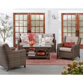 Member's Mark Agio Leighton 4-Piece Deep Seating Set with Sunbrella Fabric