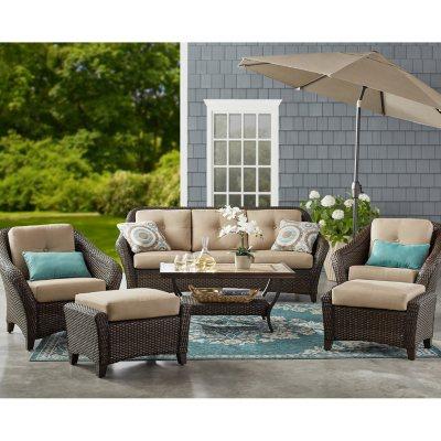 member s mark agio toronto 6 piece patio deep seating set with sunbrella fabric