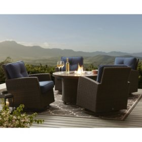 Member's Mark Agio Fremont 5-Piece Fire Pit Chat Set with Sunbrella Fabrics