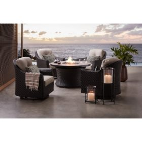 Member's Mark Agio Heritage 5-Piece Outdoor Fire Pit Chat Set with Sunbrella Fabric