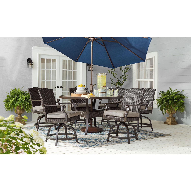 Members Mark Heritage 7-Piece Hand Woven Balcony-Height Dining Set with Premium Sunbrella Fabrics