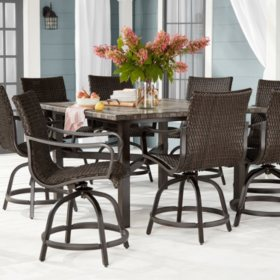 Member S Mark Agio Toronto 9 Piece Patio Balcony Height Dining Set Sam S Club