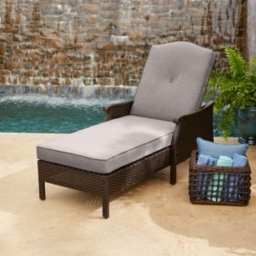 Member's Mark Agio Heritage Woven Cushioned Chaise Lounge with Sunbrella Fabric