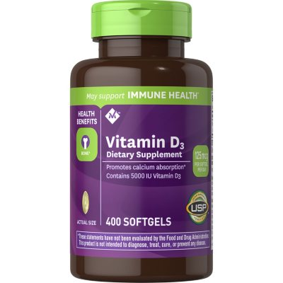 Member S Mark Vitamin D 3 5000 Iu Dietary Supplement 400 Ct Sam S Club