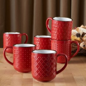 Member's Mark Texture 6-pc Mug Set (Assorted Colors)