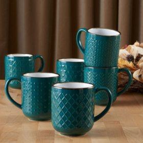 Member's Mark Set of 6 Texture Mug Set (Assorted Colors)