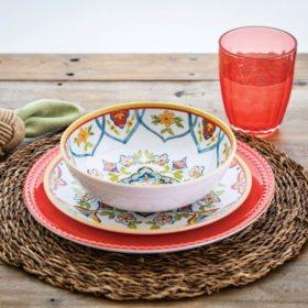 Member's Mark 18-Piece Melamine Dinnerware Set (Assorted Colors)