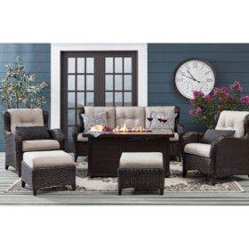 Member's Mark Agio Heritage 6-Piece Deep Seating Fire Pit Set with Sunbrella Fabrics