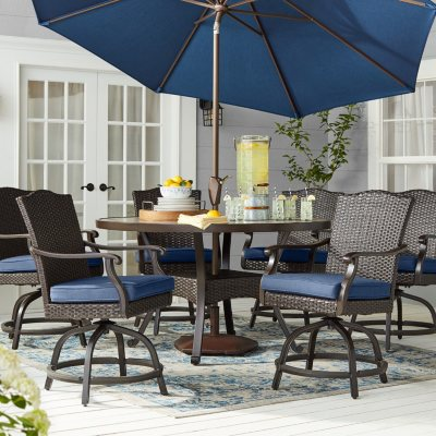 Member S Mark Agio Heritage 7 Piece Balcony Height Patio Dining Set With Sunbrella Fabric Indigo Sam S Club