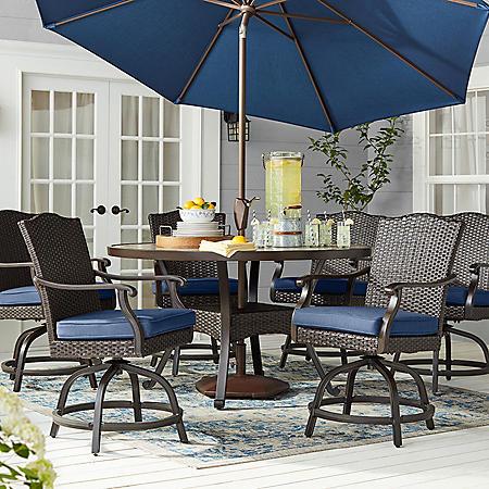 Member's Mark Agio Heritage 7-Piece Balcony-Height Patio Dining Set with Sunbrella Fabric, Indigo