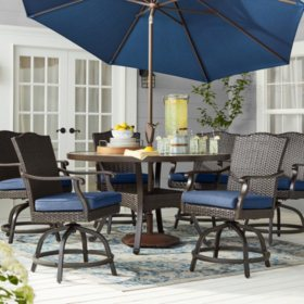 Member's Mark Agio Heritage 7-Piece Balcony-Height Patio Dining Set with Sunbrella Fabric, Indigo