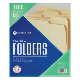 Member's Mark Manila File Folders, Letter, 150/BX