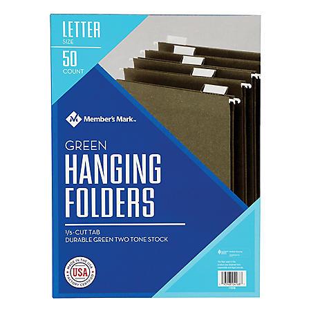Member's Mark Hanging File Folders, Letter, 1/5-Cut Tabs, Green, 50/Box