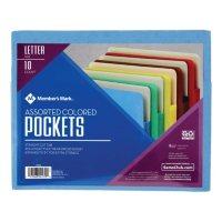 Member's Mark Color File Pockets, Letter, 10/PK