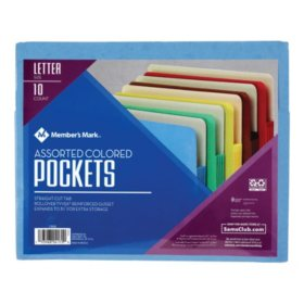 Member's Mark Color File Pockets, Letter, 10/PK