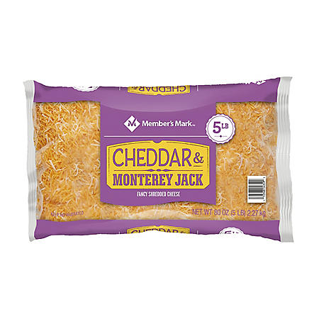 Member's Mark Fancy Shredded Yellow Cheddar and Monterey Jack Cheese (5 lbs.)