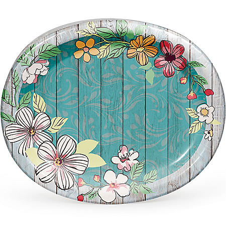 Member's Mark Farmhouse Floral Oval Paper Plates - 55 ct.