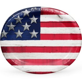 Member's Mark Stars and Stripes Oval Paper Plates - 55 ct.