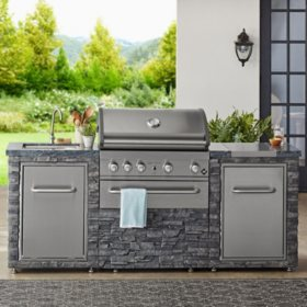 Member's Mark SS304 Deluxe Stacked Stone 4 Burner Grill Island