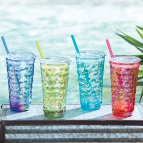 Member's Mark 4-Pack Tritan Hammered Tumblers with Lids and Straws Set