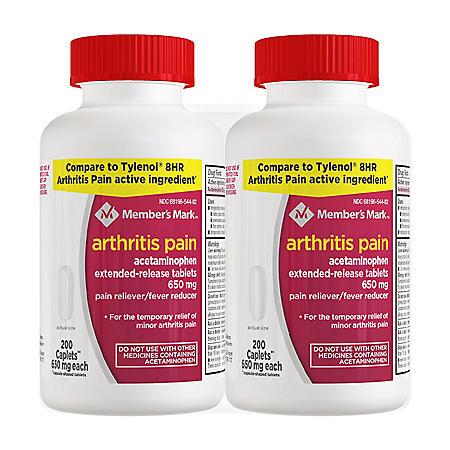 Member's Mark Arthritis Pain, Acetaminophen Tablets, 650 mg (200 ct., 2 pk.)