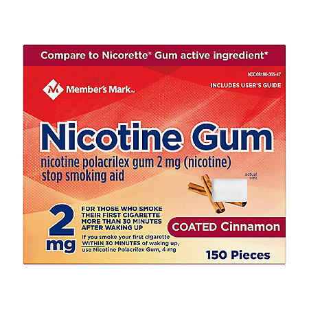 Member's Mark 2 mg Nicotine Polacrilex Gum, Coated Cinnamon (300 ct.)