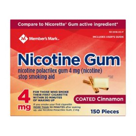 Member's Mark Nicotine Coated Gum 4mg, Cinnamon Flavor (300 ct.)