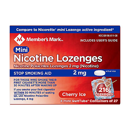Member's Mark Mini Nicotine Lozenge 2mg, Cherry Ice Flavor (27 ct., 8 pk.)