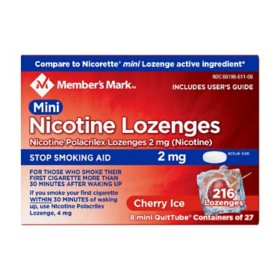 Member's Mark 2 mg Nicotine Polacrilex Lozenges, Stop Smoking Aid, Cherry Ice (27 ct., 8pk.)