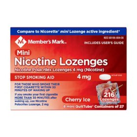 Member's Mark 4 mg Nicotine Polacrilex Lozenges, Stop Smoking Aid, Cherry Ice (27 ct., 8pk.)