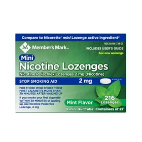 Member's Mark Nicotine 2mg Mint Mini Lozenge (216 ct.)