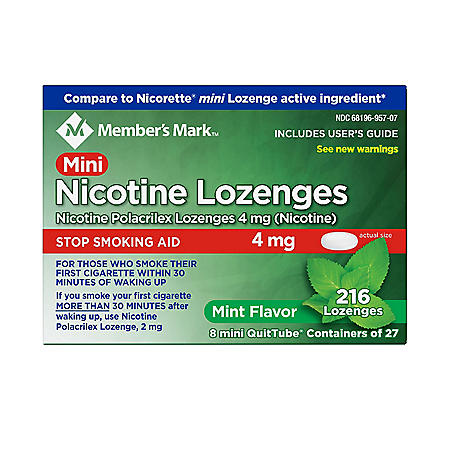 Member's Mark Nicotine 4mg Mint Mini Lozenge (216 ct.)
