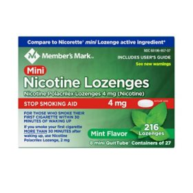 Member's Mark Mini Nicotine Lozenge 4mg, Mint Flavor (216 ct.)