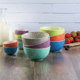 Member's Mark 12-Piece Textured Print Bowl Set (Assorted Colors)