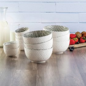 Member's Mark 12-Piece Textured Print Bowl Set