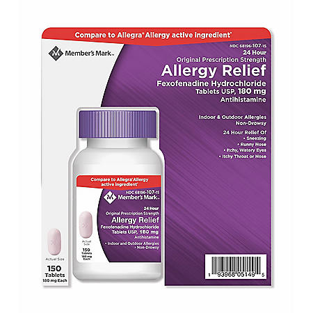 Member's Mark 180mg Allergy Relief, Fexofenadine (150 ct.)