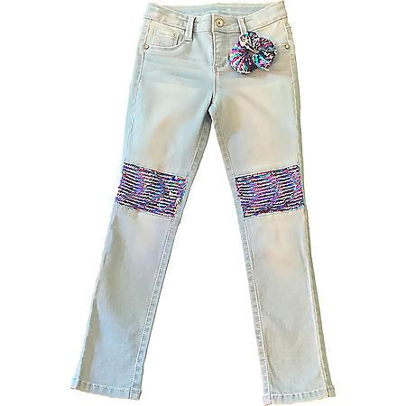 Member's Mark Girl's Skinny Jean with Multi Color Sequin Knee