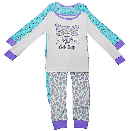 Member's Mark Girl's 4-Piece Super Soft Snugfit Cotton Pajama Set